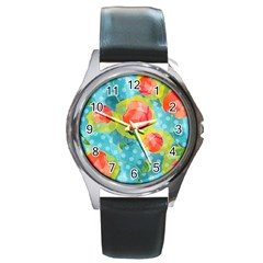 Red Cherries Round Metal Watch