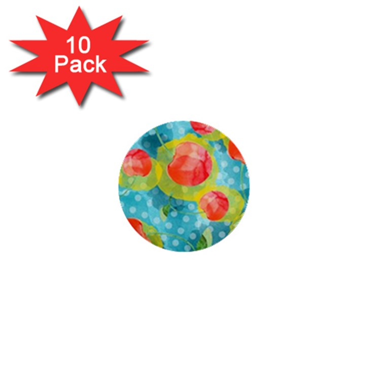 Red Cherries 1  Mini Buttons (10 pack)