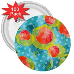 Red Cherries 3  Buttons (100 pack)