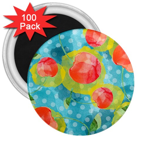 Red Cherries 3  Magnets (100 pack)