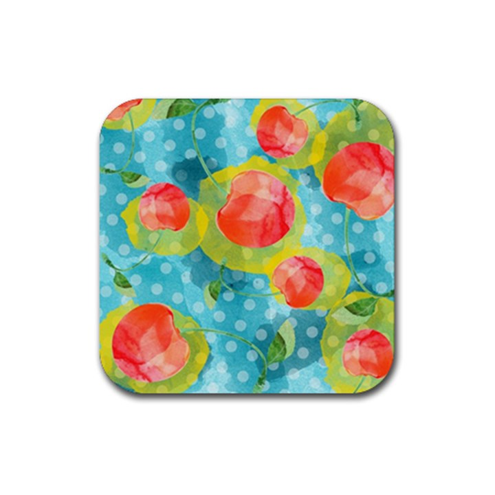 Red Cherries Rubber Coaster (Square)