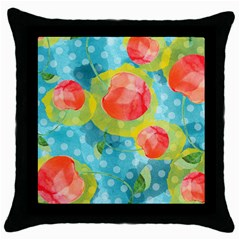 Red Cherries Throw Pillow Case (Black)