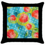 Red Cherries Throw Pillow Case (Black) Front