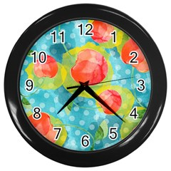 Red Cherries Wall Clocks (Black)