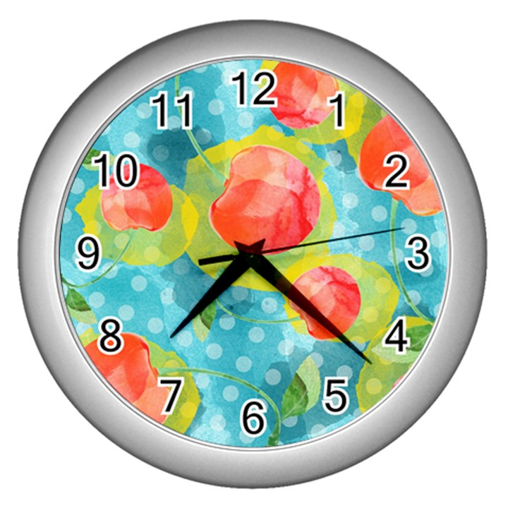 Red Cherries Wall Clocks (Silver)