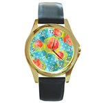 Red Cherries Round Gold Metal Watch Front