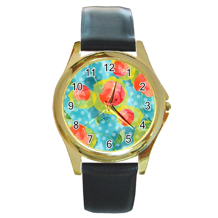 Red Cherries Round Gold Metal Watch