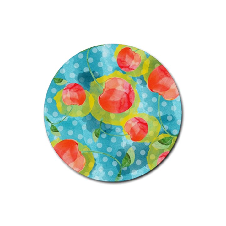 Red Cherries Rubber Round Coaster (4 pack)