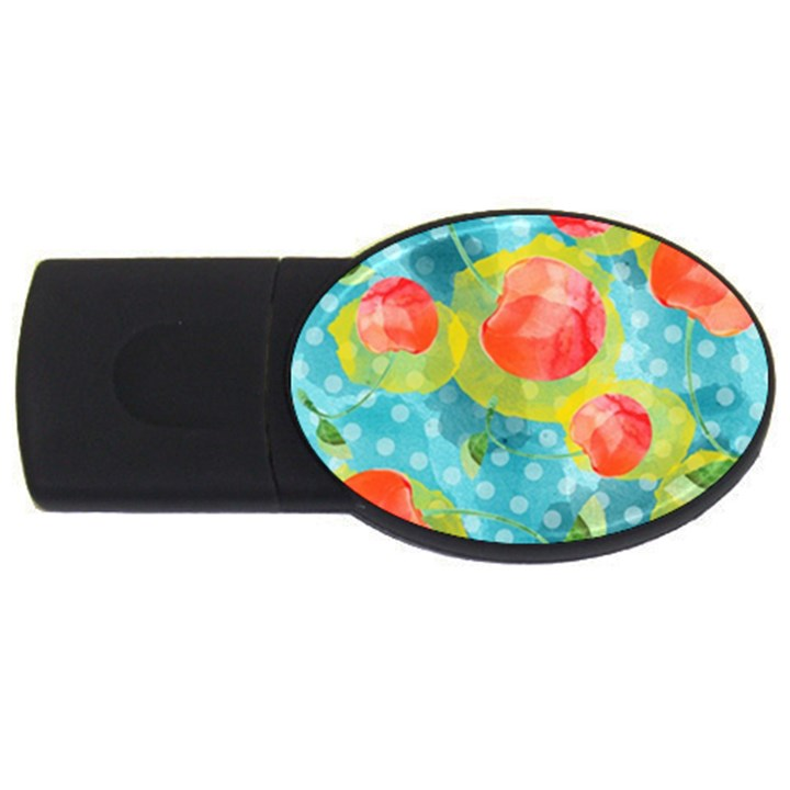 Red Cherries USB Flash Drive Oval (1 GB)