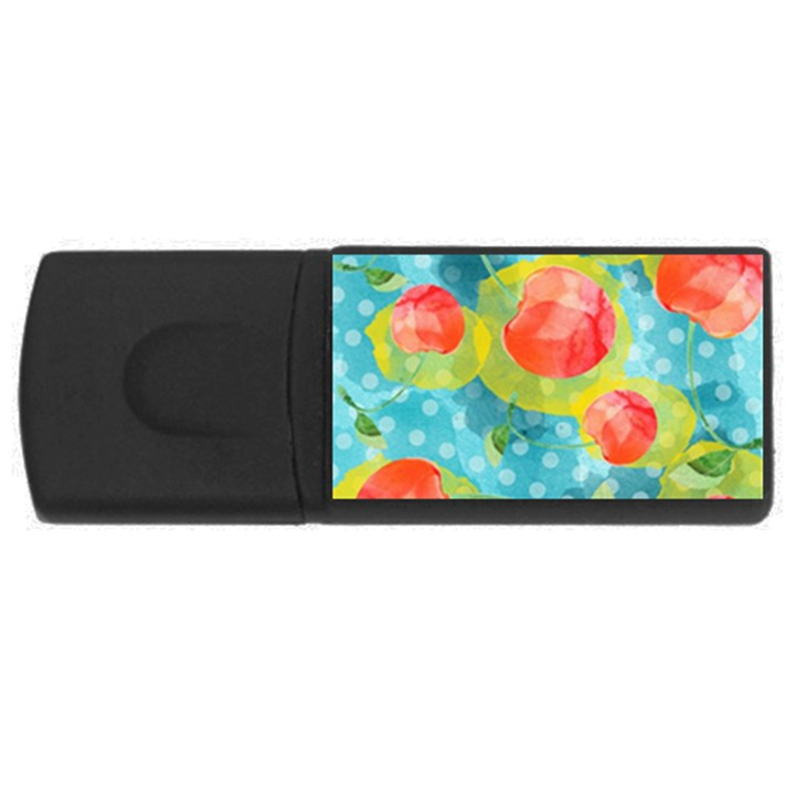 Red Cherries USB Flash Drive Rectangular (1 GB)