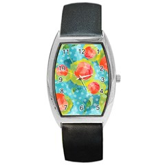 Red Cherries Barrel Style Metal Watch