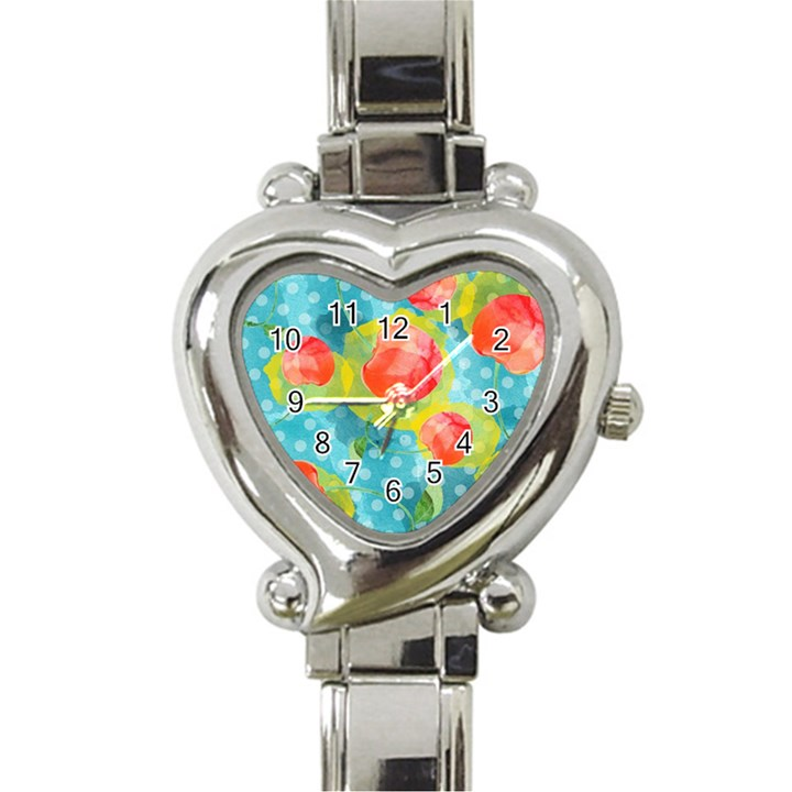 Red Cherries Heart Italian Charm Watch