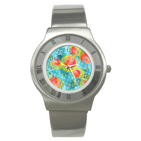 Red Cherries Stainless Steel Watch
