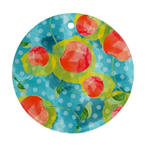 Red Cherries Round Ornament (Two Sides)