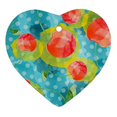 Red Cherries Heart Ornament (2 Sides)
