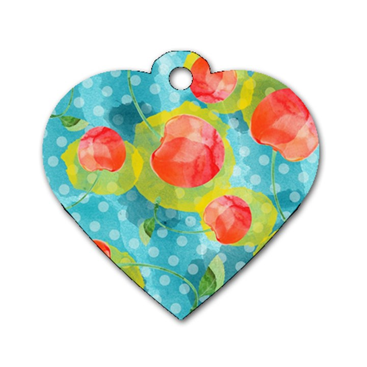 Red Cherries Dog Tag Heart (One Side)
