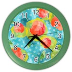 Red Cherries Color Wall Clocks Front