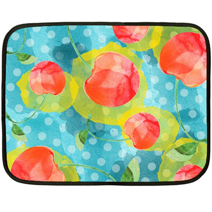 Red Cherries Double Sided Fleece Blanket (Mini)