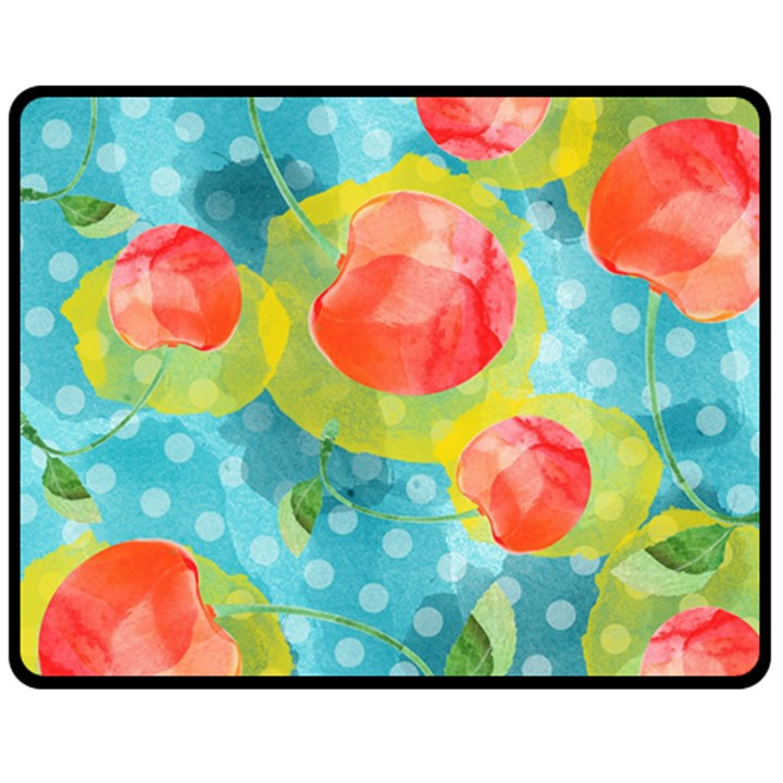 Red Cherries Fleece Blanket (Medium)