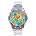 Red Cherries Stainless Steel Analogue Watch Front