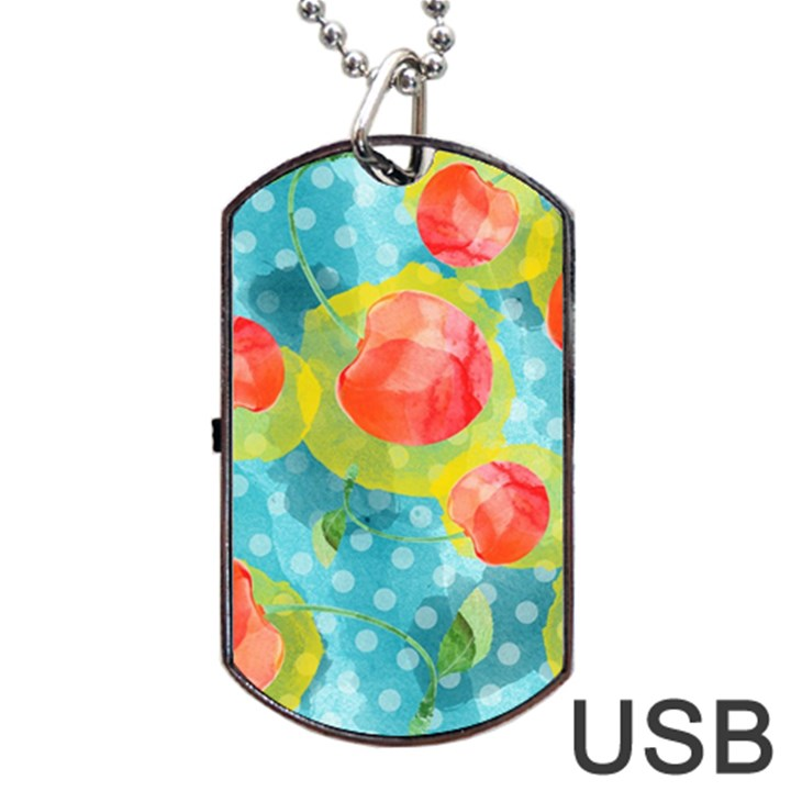Red Cherries Dog Tag USB Flash (One Side)