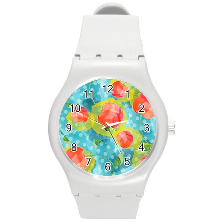 Red Cherries Round Plastic Sport Watch (M)
