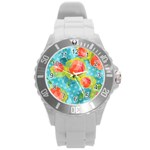 Red Cherries Round Plastic Sport Watch (L) Front