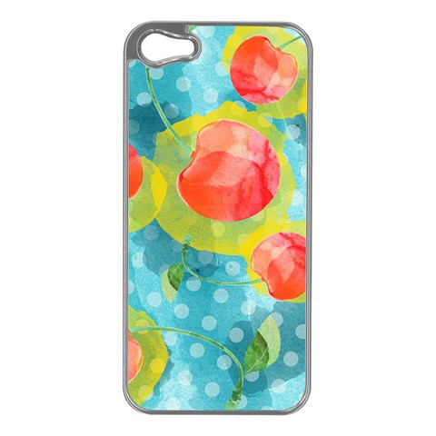 Red Cherries Apple iPhone 5 Case (Silver)