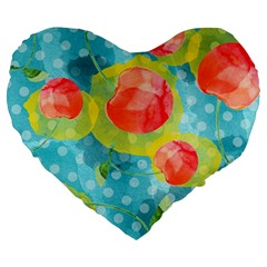 Red Cherries Large 19  Premium Heart Shape Cushions