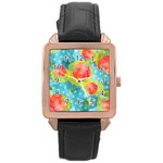 Red Cherries Rose Gold Leather Watch  Front