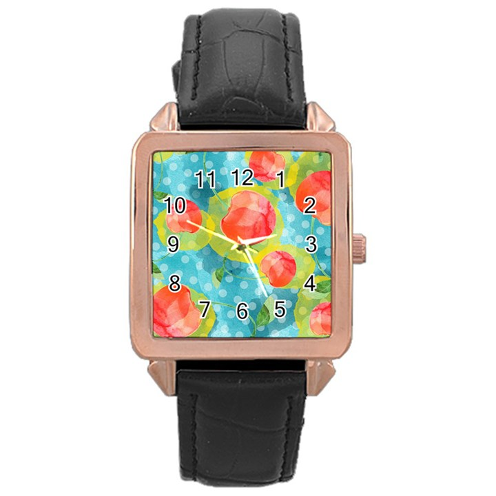 Red Cherries Rose Gold Leather Watch