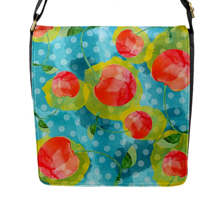 Red Cherries Flap Messenger Bag (L)