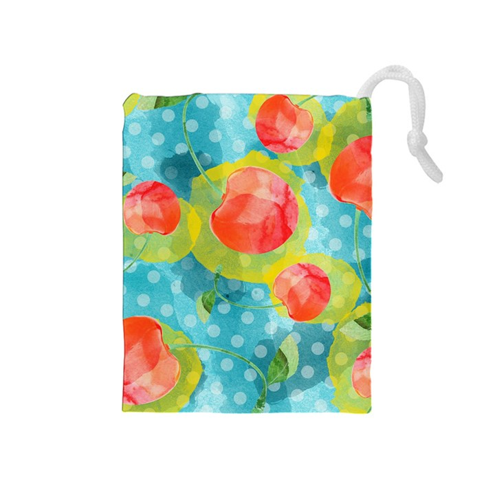 Red Cherries Drawstring Pouches (Medium)