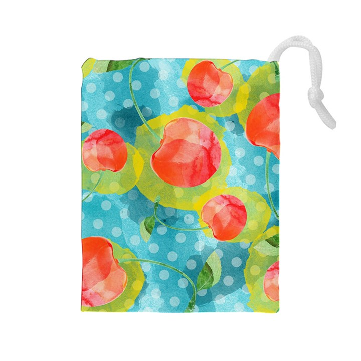 Red Cherries Drawstring Pouches (Large)