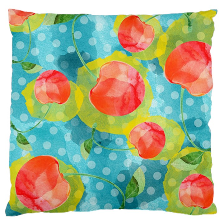 Red Cherries Standard Flano Cushion Case (One Side)