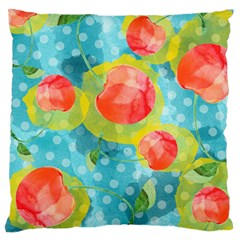 Red Cherries Large Flano Cushion Case (One Side)