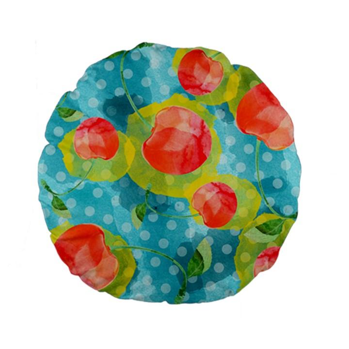 Red Cherries Standard 15  Premium Flano Round Cushions