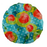 Red Cherries Large 18  Premium Flano Round Cushions Back