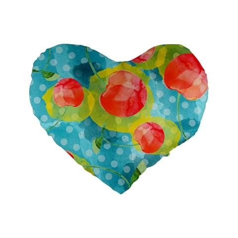 Red Cherries Standard 16  Premium Flano Heart Shape Cushions