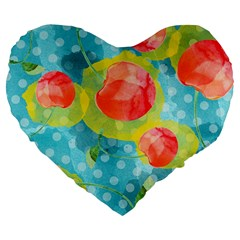 Red Cherries Large 19  Premium Flano Heart Shape Cushions