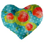 Red Cherries Large 19  Premium Flano Heart Shape Cushions Back
