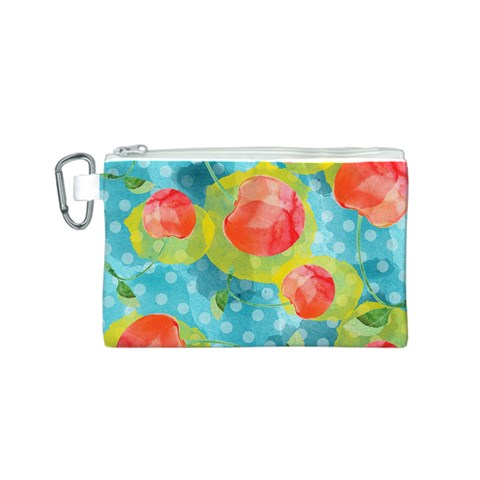 Red Cherries Canvas Cosmetic Bag (S)