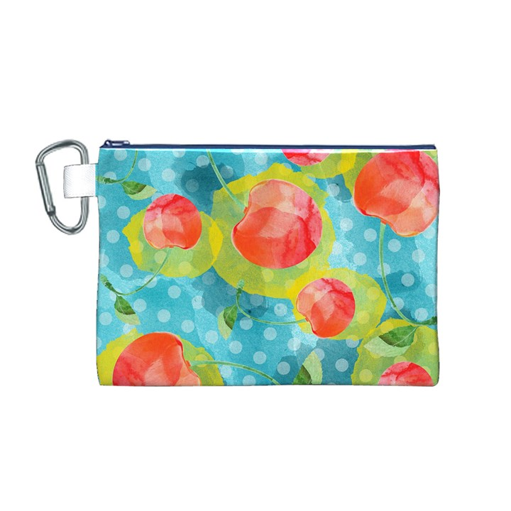 Red Cherries Canvas Cosmetic Bag (M)