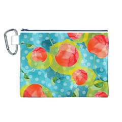 Red Cherries Canvas Cosmetic Bag (L)