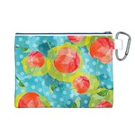 Red Cherries Canvas Cosmetic Bag (L) Back