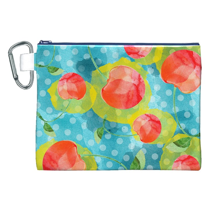 Red Cherries Canvas Cosmetic Bag (XXL)