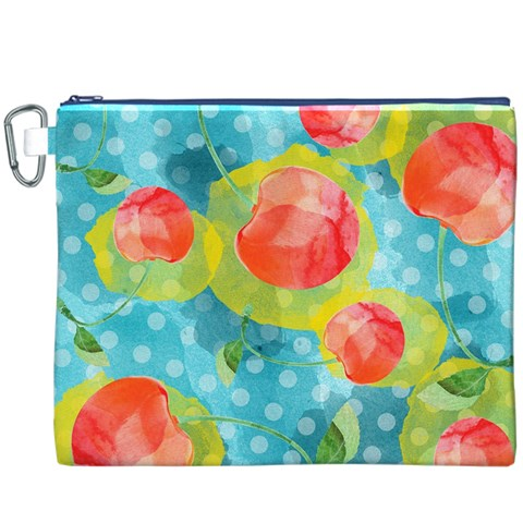 Red Cherries Canvas Cosmetic Bag (XXXL)