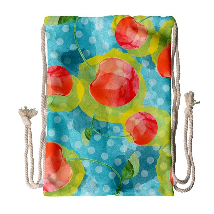 Red Cherries Drawstring Bag (Large)