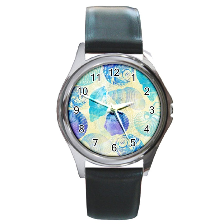 Seashells Round Metal Watch