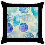 Seashells Throw Pillow Case (Black) Front